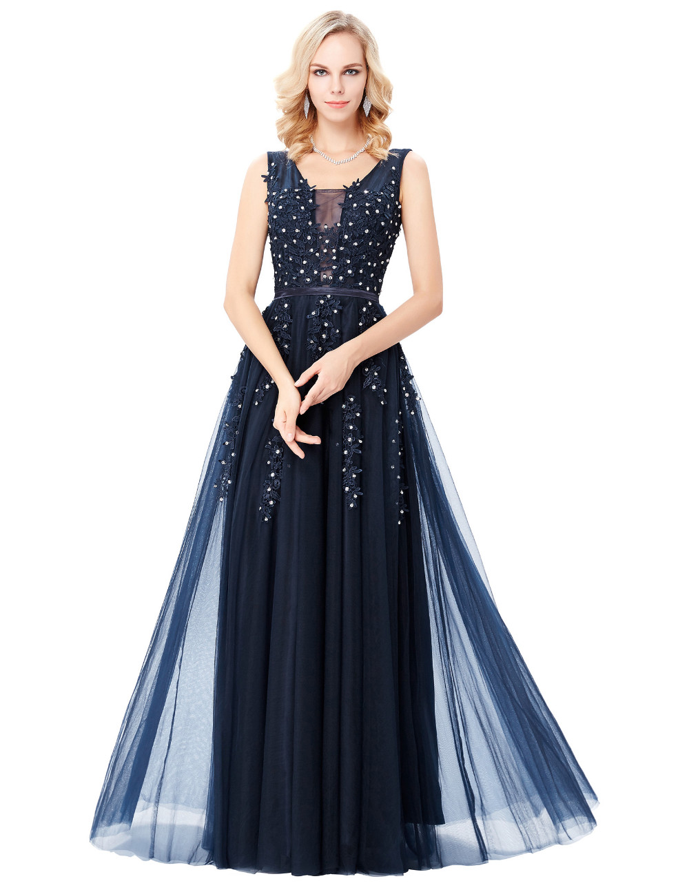 Grace Karin Tulle Appliques Celebrity Prom Dress Sexy V Back Sleeveless Long Royal Blue Robes De Soiree 2017 Longue Prom Dresses 10