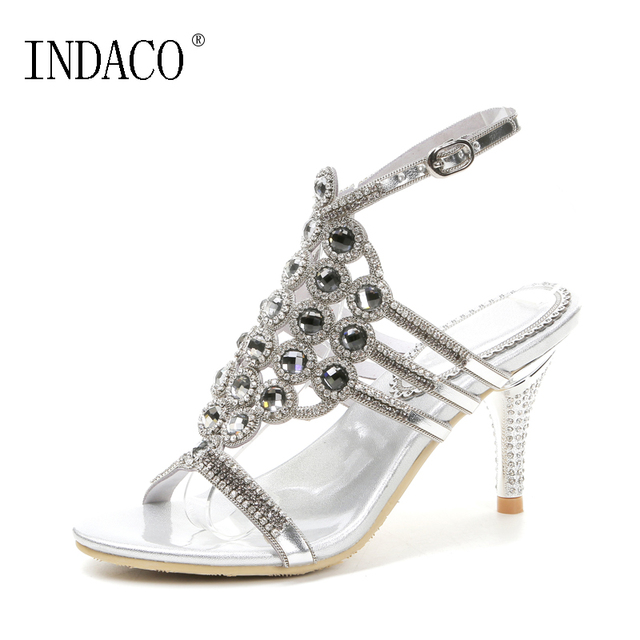 c7c4579ff5c9 Ankle Strap Women Rhinestone Leather Sandals Black Silver Sexy Luxury  Summer High Heels Shoes 8cm