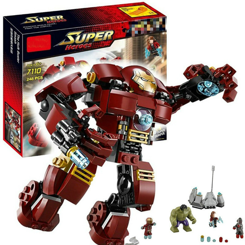 7110 Compatible With Legoingly Marvel Super Heroes 76031 Avengers Building Blocks Ultron Figures Iron Man Hulk Buster Bricks Toy super heroes figures batman wolverine flash green lantern robin ultron marvel avengers building blocks bricks toys single sale