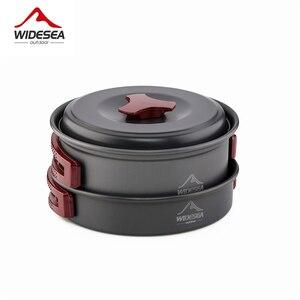 Image 2 - Widesea 1 2 人キャンプ食器屋外調理器具ピクニックセット旅行食器ノンスティック鍋フライパンボウルハイキング道具