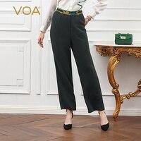 VOA Шелковые штаны офисные Для женщин длинных брюк большой Размеры Повседневное K685