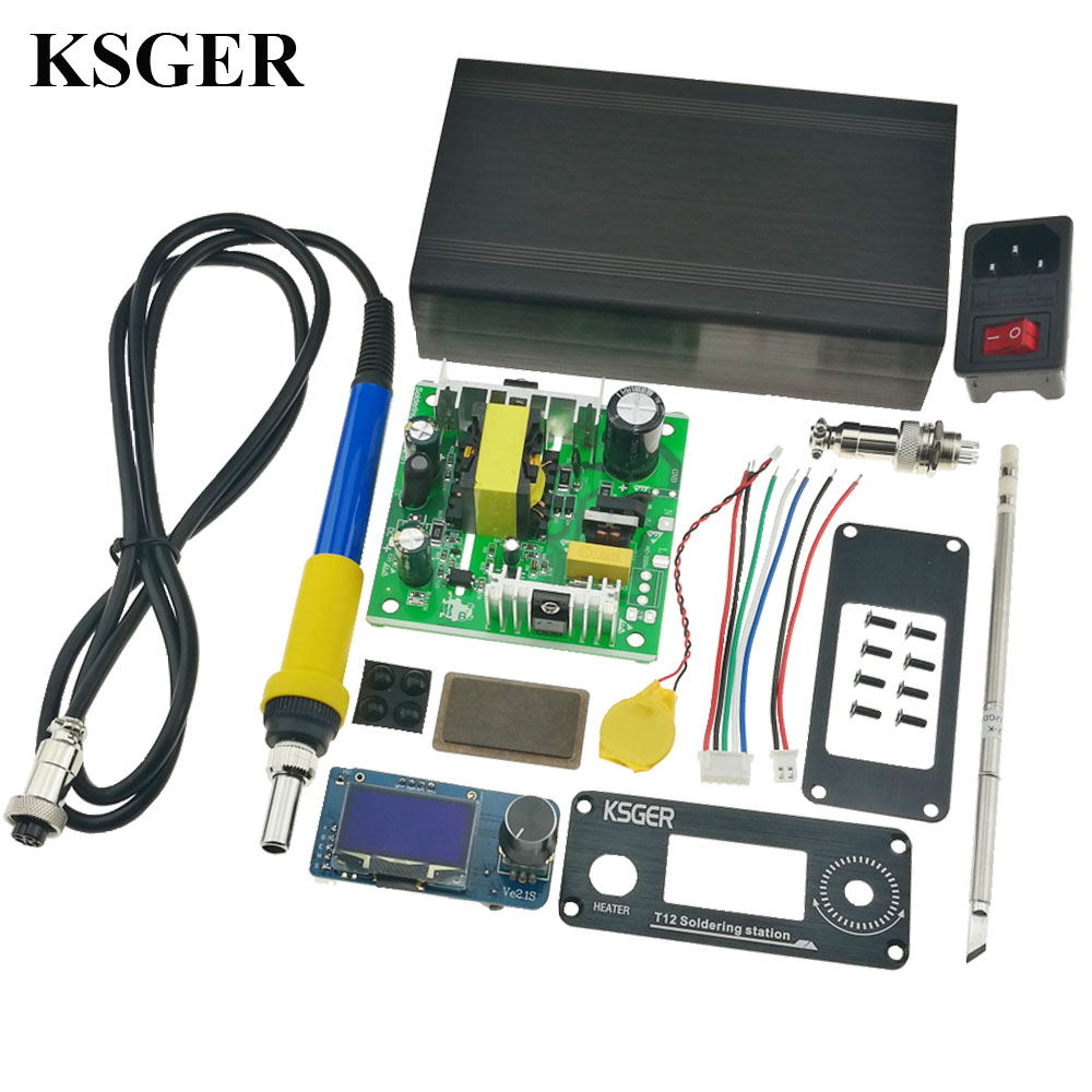 KSGER T12 DIY Soldering Iron Station STM32 V2 1S OLED Welding Sting Tips Aluminum Handle Controller