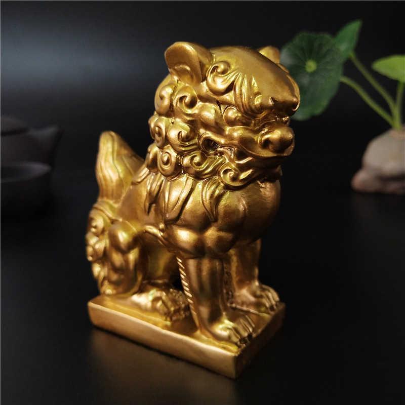 2 قطعة الذهبي الصينية الأسود تمثال منحوتات الحيوانات التماثيل فنغ شوي الحلي الحرفية حديقة الديكور تماثيل للمنزل