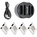 4-Pack NB-11L NB-11LH NB11L Baterías y Cargador Doble con Cable USB para Canon Powershot 130 ES, 115 ES, A2500 ELPH 135, 140 ES
