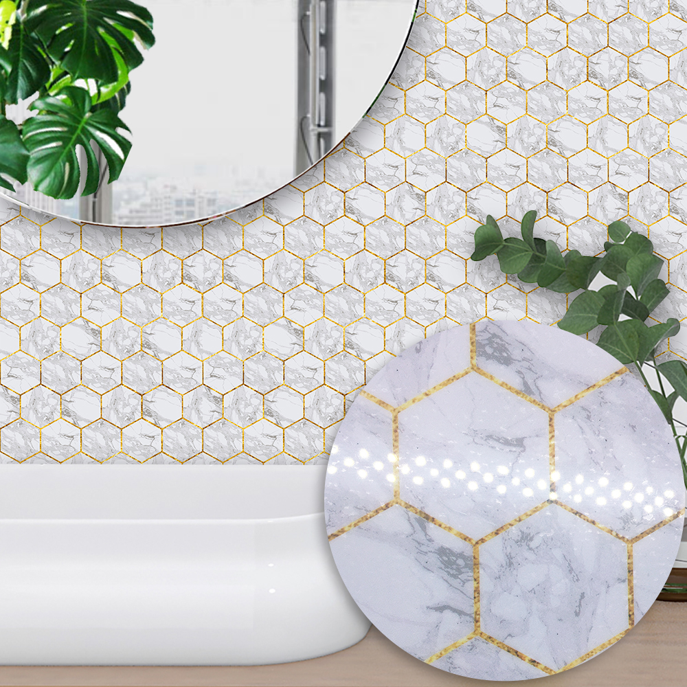 Funlife Hexagonal White Marble Tiles Self Adhesive Wall decal ...