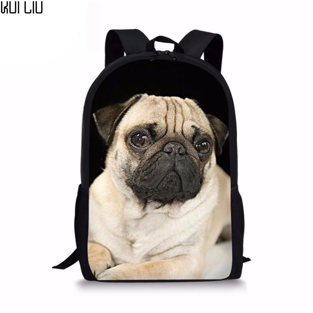 Customized Cute Pug Backpack France Bulldog Pattern Children Backpacks for Girls Boys School Bag Kawaii Rucksack Teens Mochilas