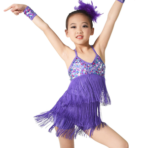 Girl Sequins Latin Dance Dress Stage Performance Costumes Tassel Dresses