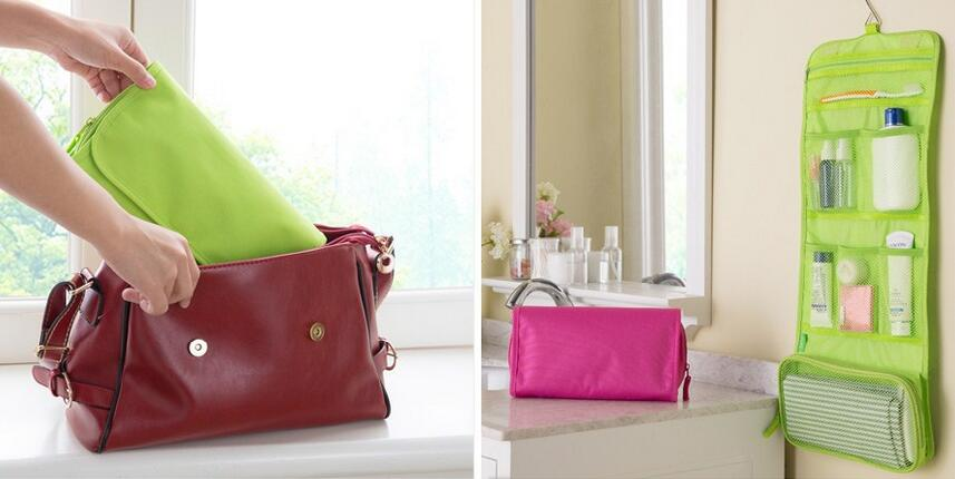 Hot Portable Hanging Organizer Bag Foldable Cosmetic Makeup