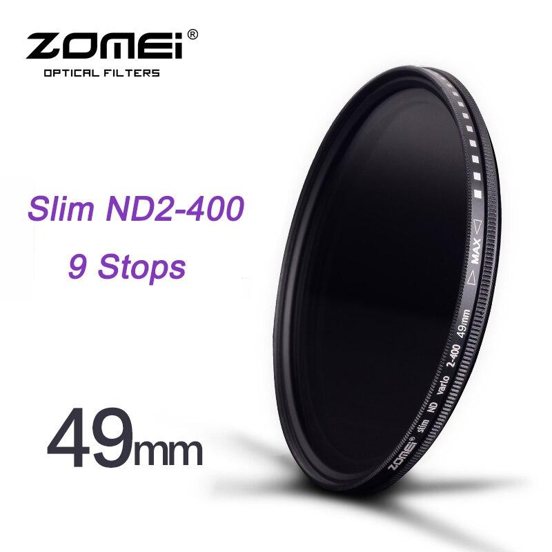 ZOMEI 49mm Slim Fader ND2 à ND400 ND2-400 Densité Neutre la décoloration Contrôle Filtre pour Canon NIkon Hoya Sony Caméra DSLR lentille