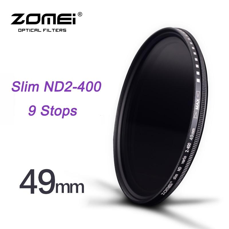 Zomei 49mm Delgado fader ND2 a ND400 ND2-400 Filtro de control de desvanecimiento de densidad neutra para Canon Nikon hoya Sony Cámara lente DSLR