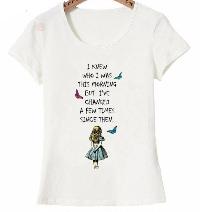 Alice au pays des merveilles cytat T Shirt lato tryb femmes koszulka mignon fille décontracté w hauts de seine w stylu Hip Hop fajne femme t  w Koszulki od Odzież damska na  Grupa 1