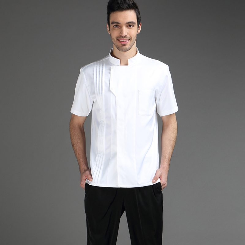 VIAOLI Summer Chef Short Sleeve Men And Women Hotel Kitchen Clothes Cotton Chef Workwear Large Size S-5XL
