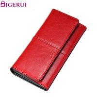 DIGERUI Split Leather Women Wallet High Quality Purse Ladies Clutch Women Elegant Female Red Women S