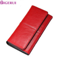 DIGERUI Split Leather Women Wallet High Quality Purse Ladies Clutch Women Elegant Female Red Women S