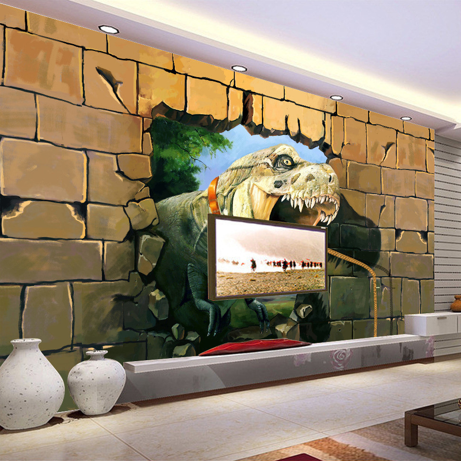 Custom 3D Photo Wallpaper Lifelike Dinosaurs Wall Breaching Art Wall  Painting Living Room Sofa TV Backdrop. Online Get Cheap Dinosaur Rooms  Aliexpress com   Alibaba Group