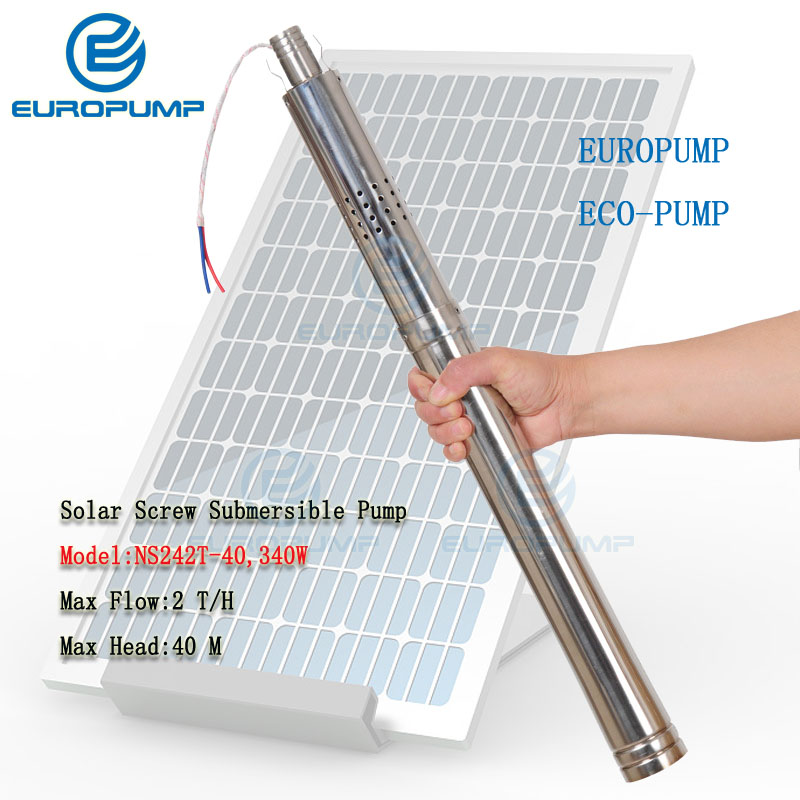 EUROPUMP MODEL(NS242T-40) 2 Inch Well Solar Water Pump, 40m Lift 24v Dc Submersible Water Pump For Small Diameter Well