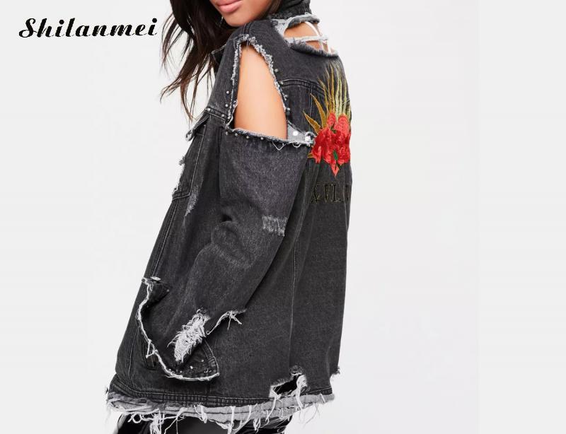 Denim Femelle Tournent Mode Bas Noir Trous Vers Veste Gland Jeans Le Streetwear Manteaux Femmes Broderie Survêtement Causalité rCoeQdExBW