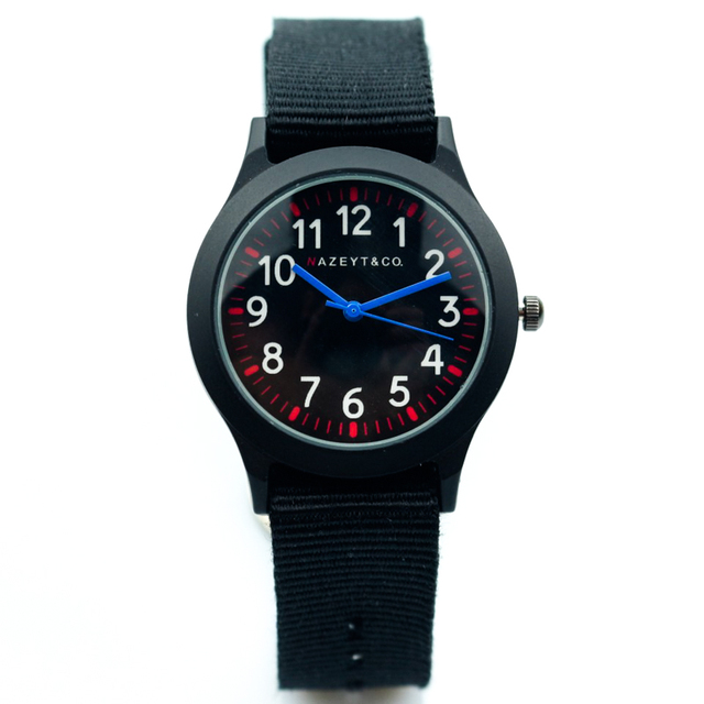 promotion midlle and little student black nylon strap quartz watch boys and girl