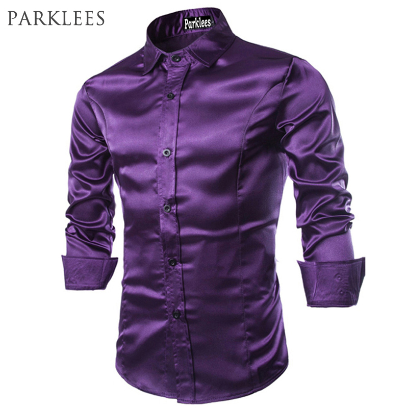 Silk Long Sleeve Dress Shirt Men