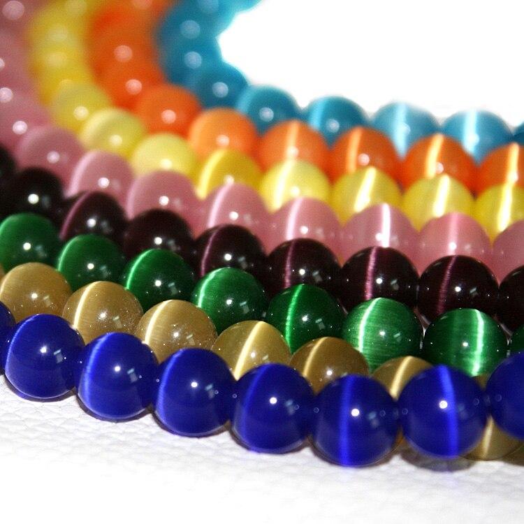 Цена оптовой продажи Стекло Круглые бусины 8 мм 100 шт./лот бисер кошачий глаз для Jewelryl внесении смешанные Цвет опал бусины CN-BBB003