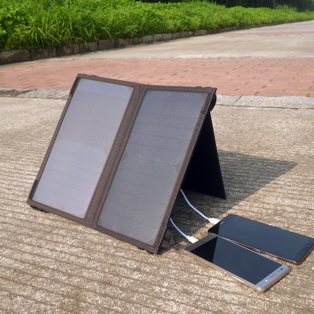 Solar Battery Bank PowerGreen 14 Watts Portable Solar Charger Foldable Solar Panel Folding Solar Charger for Mobile Phone