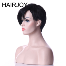 HAIRJOY Capless Synthetic Hair Women Natural Black Pixie Style Short Straight Wig Free Shipping trendy full bang capless brown highlight bob style short straight synthetic wig for women