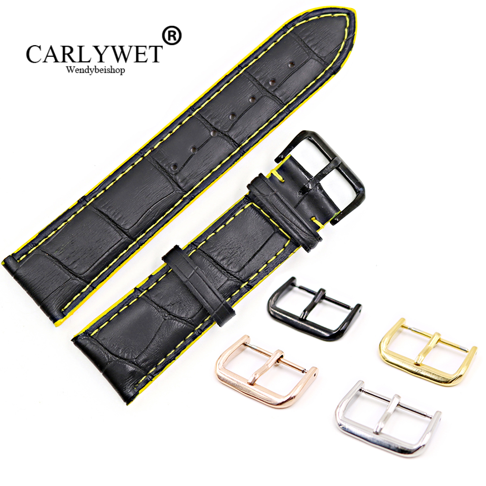 CARLYWET 18 20 22mm Black Real Leather Handmade Yellow Stitches Replacemet Watch Band Strap With Silver Color Polished Buckle