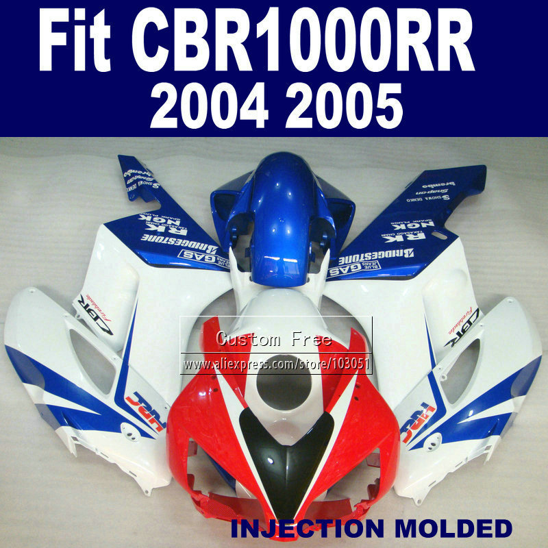 100% FIT Injection ABS fairing kits for 2004 2005 Honda CBR1000RR CBR 1000 RR 04 05 CBR 1000RR white blue HRC fairings body sets