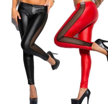 Woman Jeggings Sexy side mesh through meat imitation Imitation leather stitching leggings Woman Jeggings L1090 jeggings ironi