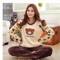 Envío libre Otoño e invierno mujer ropa de dormir de franela engrosamiento de coral polar más tamaño Conjuntos de Pijamas calientes M-4XL para 110 kg