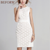 Summer Women Casual Dress Sexy Sleeveless Solid Color Slim Large Size Dresses Fashion White Lace Mini