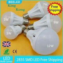 цена на 6pcs lot LED bulb lamp E27 2835SMD Cold white warm white 3W 5W 7W 9W 12W High brightness 220V Free shipping home lighting lamp