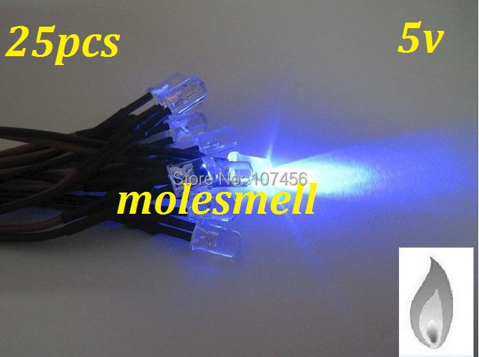 Free Shipping 25pcs 5mm Blue Flicker 5V Pre-Wired Water Clear LED Leds Candle Light 20CM 5mm Candle Blue Led 5v DC