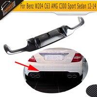 Para W204 de fibra de carbono parachoques trasero del difusor del labio para Mercedes Benz W204 C63 AMG C300 deporte sedán 2012 de 2013 a 2014 coche de Spoiler