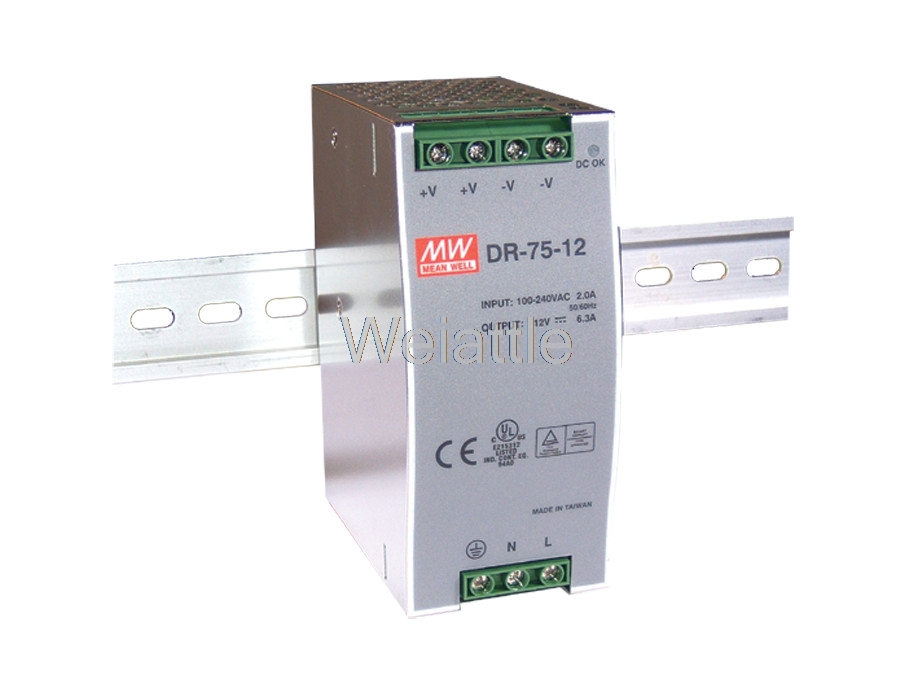 12V 24V 48V MEAN WELL original 1.6A 3.2A 6.3A 76.8W Single Output Industrial DIN Rail Power Supply DR-75-12 DR-75-24 DR-75-48 средство dr brandt dr brandt dr011lwohk32