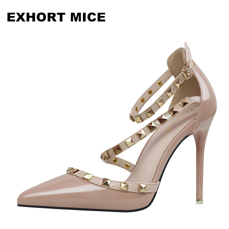 2017 Women Pumps Fashion Sexy Women Pumps Pointed Toe High Heels Fashion Shoes Rivets Ankle Strap High Heel  10 cm fashion women mixed color sandals sexy pointed toe high heels shoes ankle strap rivets patent leather sandal plus size smybk 045