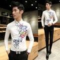 2016 мужская весна стильный рубашки цветок печать известный дизайнер рубашки с длинным рукавом сорочка уменьшают подходящие Homme блузка мужские пром одежда