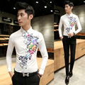 2016 Mens Spring Stylish Shirts Flower Print Famous Designer Shirts Long Sleeve Chemise Slim Fit Homme Blouse Mens Prom Clothing