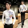2016 primavera elegante flor de impressão de manga comprida camisa magro Homme blusa dos homens de roupas