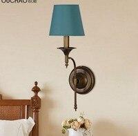 Arandela, Vintage Lampada Da Parete A LED Luce Per La Casa Camera Da Letto Illuminazione del Riparo Della Parete Pittura del Metallo con Un Panno Ombra