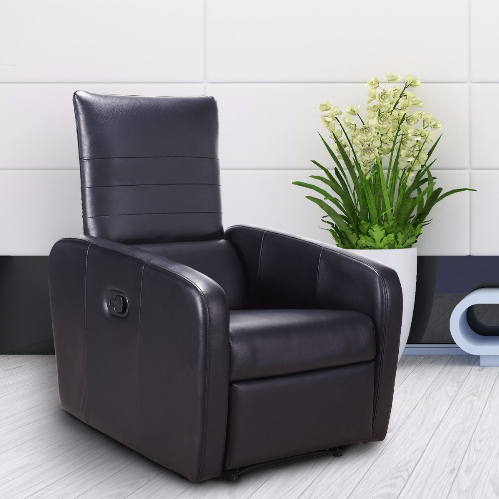 Giantex Manual Recliner Sofa Chair Contemporary Foldable-Back Leather Reclining Chair Modern Living Room Furniture HW57305 image