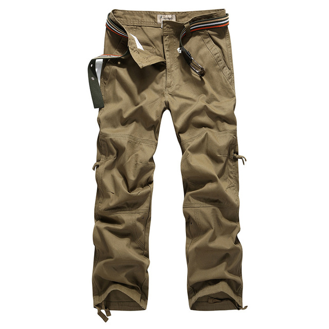 2017 New Spring Men Military Cargo Pants Loose Fit Multi-pockets Trousers 100% Cotton Solid Color Men Casual Pants Size 30-40