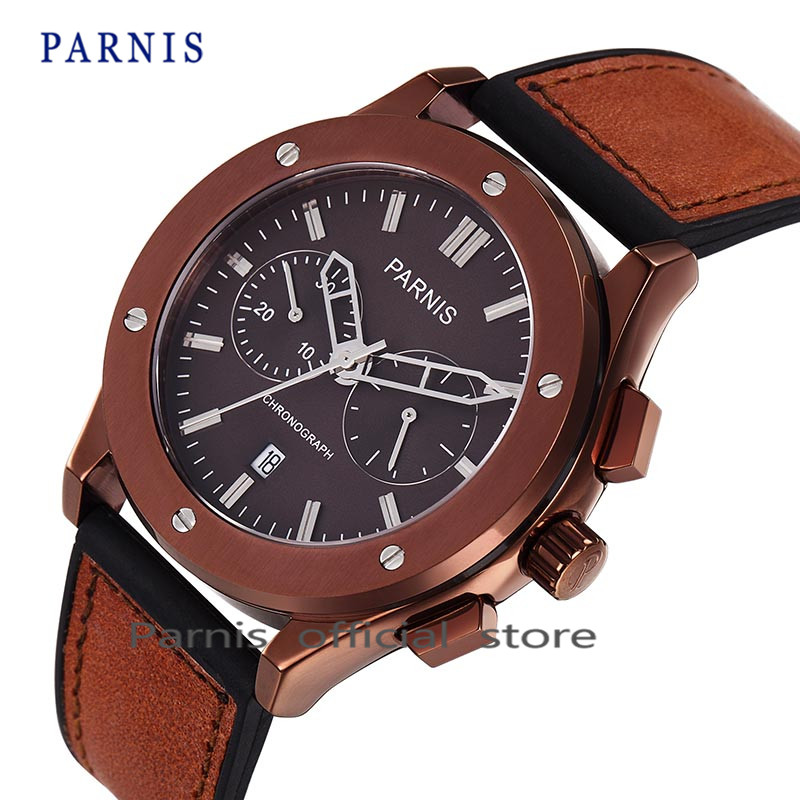 Parnis Men's Quartz Watch Brand Sapphire Crystal Chronograph Genuine Leather Military Watch Men Dress Clock relogio masculino seiko watch premier series sapphire chronograph quartz men s watch snde23p1