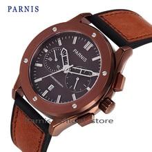 Parnis Men's Quartz Watch Brand Sapphire Crystal Chronograph Genuine Leather Military Watch Men Dress Clock relogio masculino