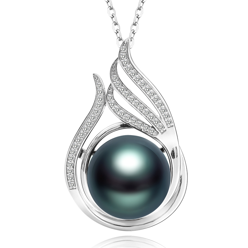 ZHIXI  Classical Tahitian pearls pendant ,11-12 mm perfectly round black  pearl  necklace pendant send  silver chain PH002ZHIXI  Classical Tahitian pearls pendant ,11-12 mm perfectly round black  pearl  necklace pendant send  silver chain PH002