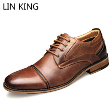 LIN KING Big Size 50 Men Genuine Leather Casual Shoes Spring Autumn Lace Up Office Dress Breathable Formal Oxfords