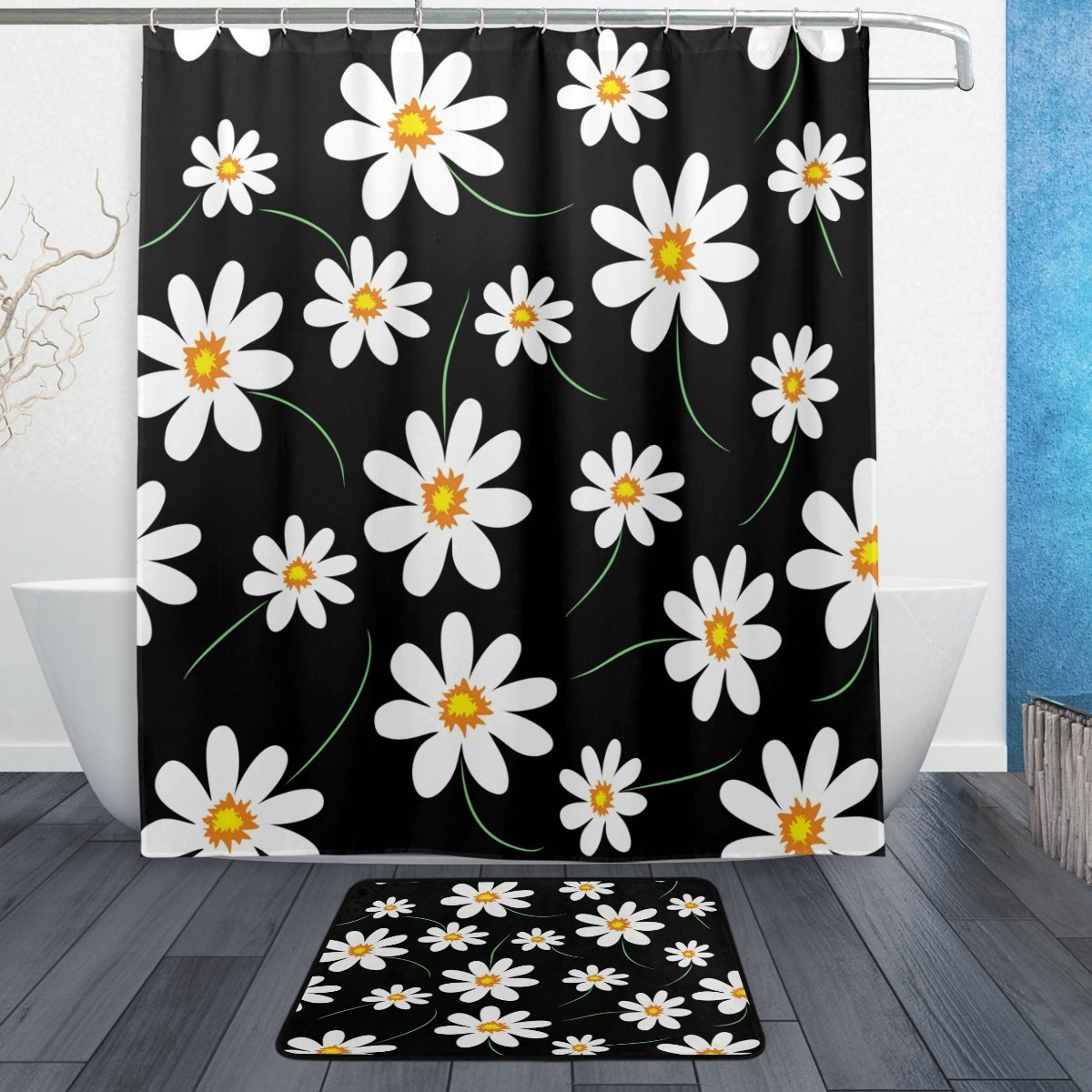 Cute Abstract Daisy Waterproof Polyester Fabric Shower Curtain with Hooks Doormat Bath Bathroom Home Decor