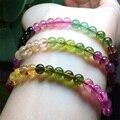 Natural Genuína Claro Colorido Mix Turmalina Multi-cor Estiramento Pulseira Rodada Beads Colar de 3 Voltas 5.8mm 04436
