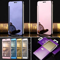 Clear View Leather Flip Mirror Case Auto Sleep UV Plated PC Smart Cover for Samsung Galaxy S7 S6 Edge Note 7 A9 A8  J7 C7