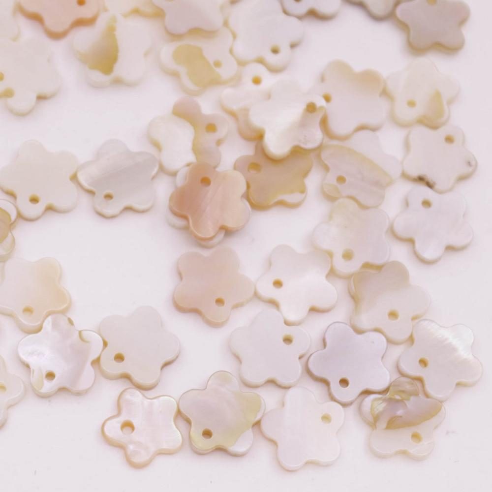 Купить с кэшбэком 50 PCS 11mm Flower Shell Natural Beige White Mother of Pearl Jewelry Making